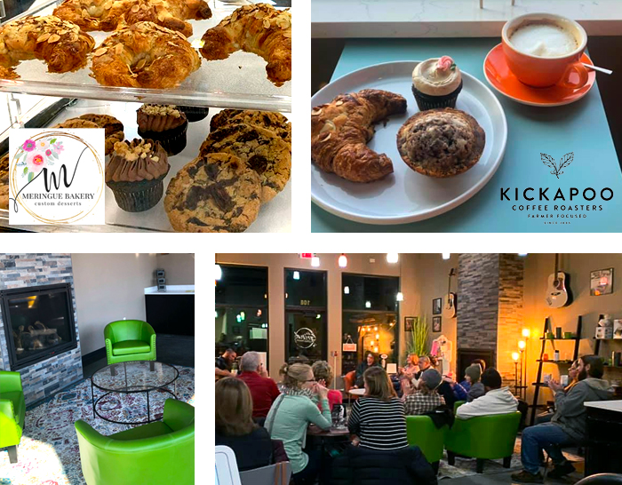 Kickapoo Coffe, fresh baked goods from Meringue Bakery, and guests relaxing to live music at The Grind Coffee House