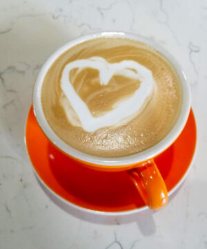Heart latte made at The Grind Coffee House in Holmen, Wisconsin