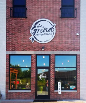 Storefront of The Grind Coffee House in Holmen, Wisconsin