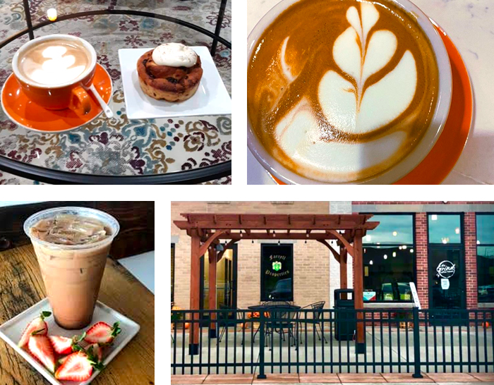 Hot and Iced Kickapoo Coffees, fresh baked goods from Meringue Bakery, and the outdoor patio at The Grind Coffee House